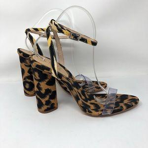 Schutz Quelen Zebra Leopard Fabric Sandals 9.5